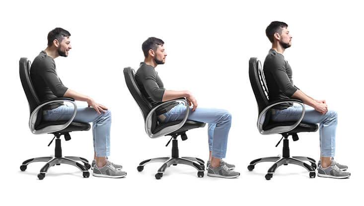 Collage of man with poor and good posture